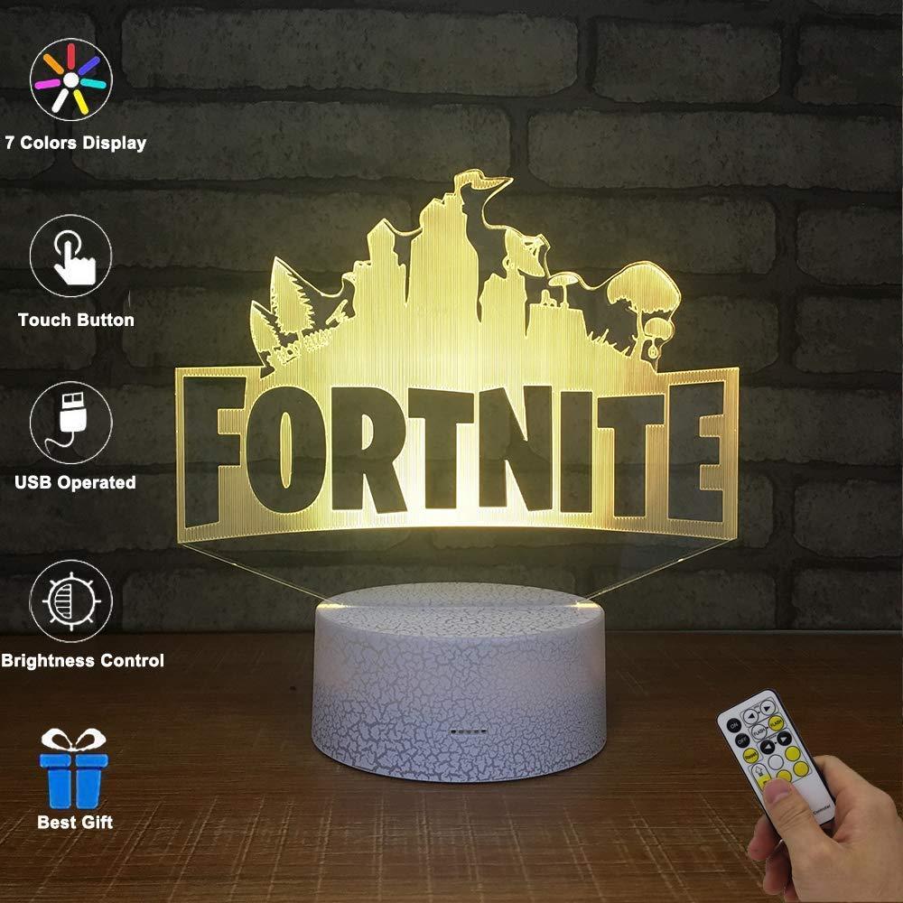 Fortnite 3D illusione luce notturna, Qsji 7 colori LED Touch lampada da tavolo con telecomando riscaldamento cute Gift present creativa decorazione ideale per arte e artigianato, Rocket Missile YXYT