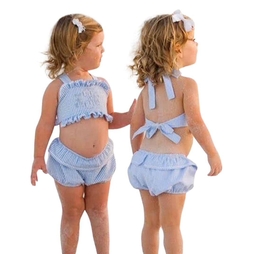 Shorts Plaid Outfits Set LNGRY Baby Girls Backless Bandage Ruffles Tops Shirt