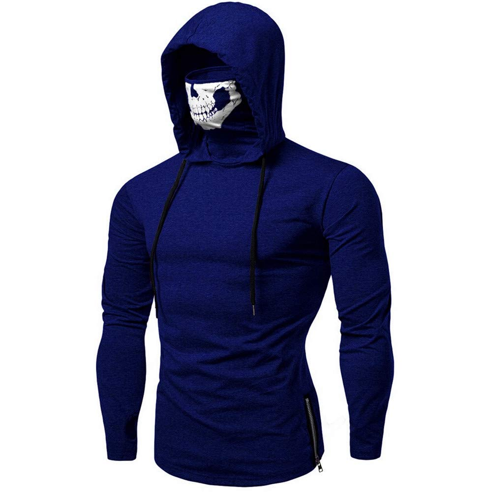 Mens Mask Hooded Sweatshirt Skull Pattern Long/Short Sleeve Training Pullover Costum