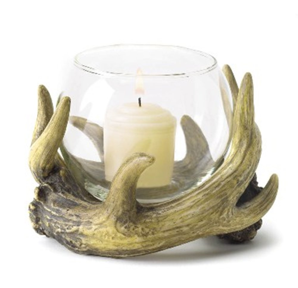 Fennco Styles Home Décor Deer Antler Wreath Glass Globe Votive Candle Holder (Candle Not Included)