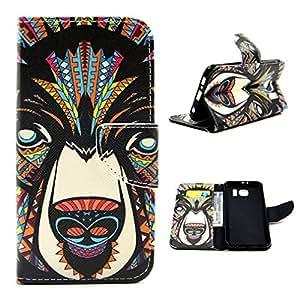 Para Galaxy S6 , ivencase Tribal Animal Magnética Billetera PU Cuero [Closure] Stand Flip Protector Funda Carcasa Tapa Case Cover Para Samsung Galaxy S6 SM-G920