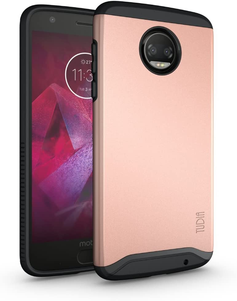 TUDIA Dual Layer Fit Designed for Motorola Moto Z2 Force Case, [Merge] Rugged Hard Back Heavy Duty Slim Protective Phone Case for Moto Z2 Force (Rose Gold)