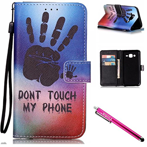 Galaxy J5 2015 Case, Firefish Kickstand Flip [Card Slots] Wallet Cover Double Layer Bumper Shell with Magnetic Closure Strap Protective Case for Samsung Galaxy J5 (2015 Version)-Palm