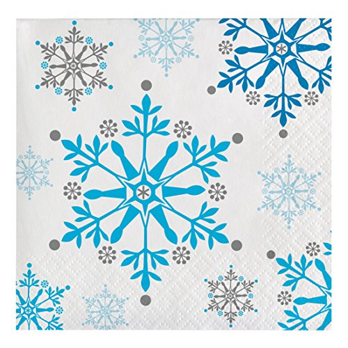 Creative Converting 16 Count Snowflake Swirls Holiday Beverage Napkins, Multicolor -
