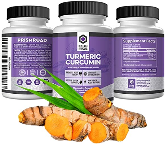 Prism Road Turmeric Curcumin Supplement with Bioperine Organic Turmeric Black Pepper Capsules Curcumin Extract Absorption Advanced Joint Vegan Vegetarian Pills 90 Capsules