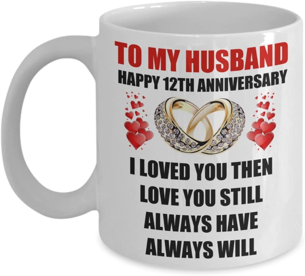 Amazon Com 12 Year 12th Wedding Anniversary Gift For Him Men Husband Couples Romantic Happy Love Present Coffee Mug Cup Valentine S Day Surprise Engagement Ideas Kitchen Dining