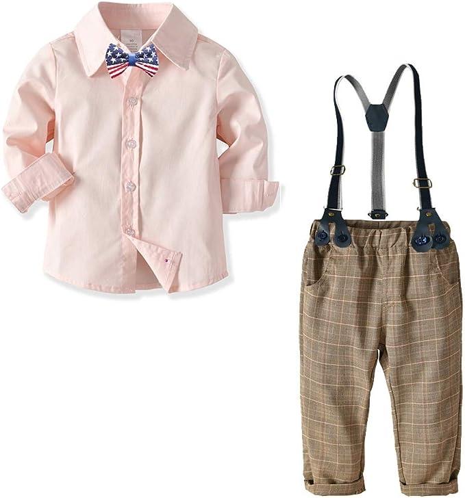 Weentop Niños Niños Ropa Conjuntos Pajaritas Camisas Tirantes Pantalones Chico Caballero Trajes Trajes (2-8 años) (tamaño : 80): Amazon.es: Hogar