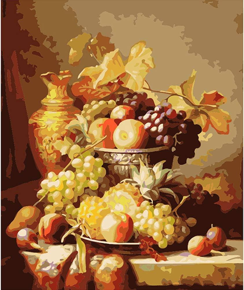 LvJin DIY Pintura Digital Bodegón Fruta, Lienzo de Color sin Marco, 16 * 20 in, Número de Pintura Adultos, Pintura por números