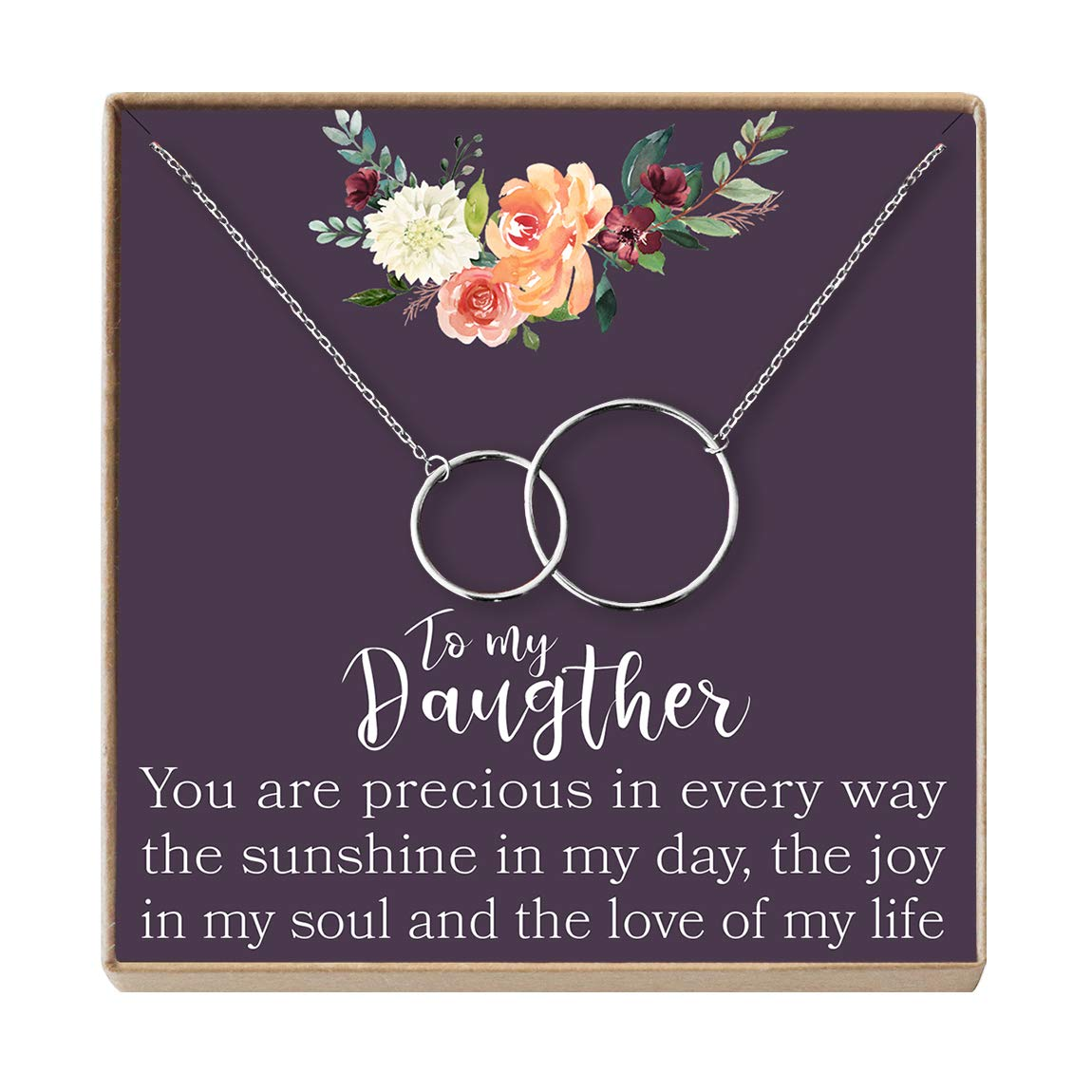 Mother Daughter Gifts Daughter Jewelry Silver-Plated-Brass, NA 2 Interlocking Circles Dear Ava Daughter Necklace: Gift for Daughter