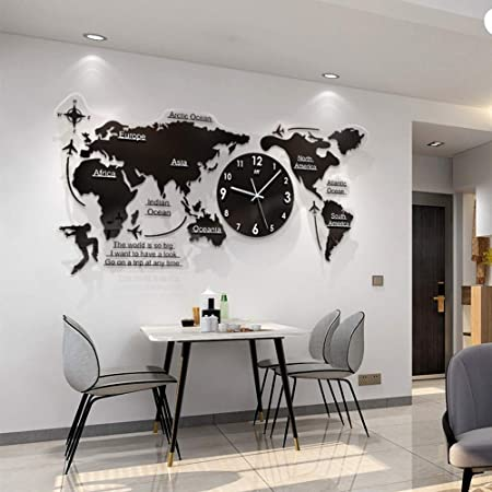 FCX-CLOCKUHR 8D Acryl Weltkarte mit Uhren Set - Wohnzimmer verzierte  Moderne Wanduhr - Schwarz 8x8 cm MDF Weltzeituhren Wanduhren Schilder