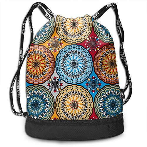 OLOSARO Drawstring Bag Boho Rosette Shoulder Bags Travel Sport Gym Bag Print - Yoga Runner Daypack Shoe Bags with Zipper and ()