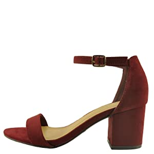 Bamboo Highlight 06S Women's Open Toe Chunky Heel Sandals (7.5, Burgundy)