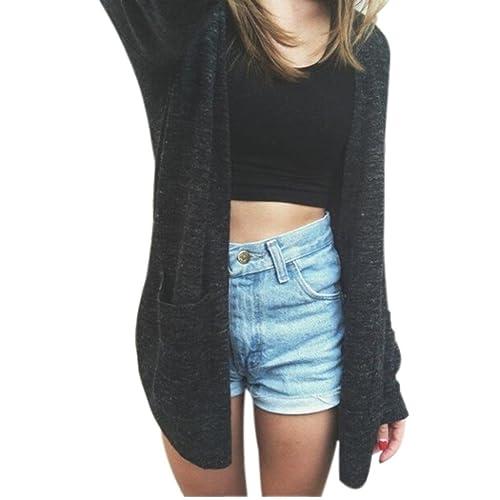 FEITONG Las mujeres de manga larga Cardigan de punto flojo del suéter Outwear el suéter capa de la c...