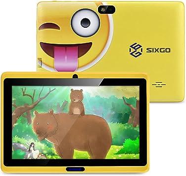 Tableta infantil de 7 pulgadas CARRVAS color amarillo Wi-Fi, Android, Iwawa preinstalado, tablet de control parental con aplicaciones de aprendizaje, seguro para los ni/ños
