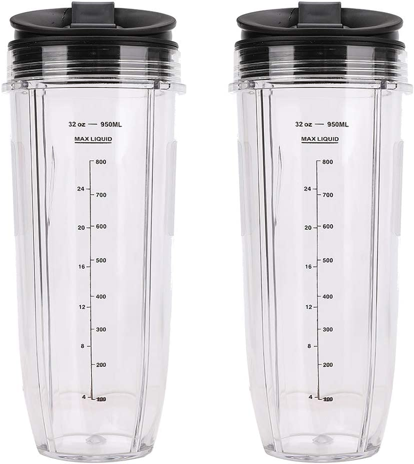 2 Pack Blender 32 oz Large Cups with Sip Seal Lids Tall Cup Container 950ML Replacement Compatible with Nutri Ninja Auto IQ Blender BL482 BL642 NN102 BL682 BL2013 Replace 407KKU641 408KKU641
