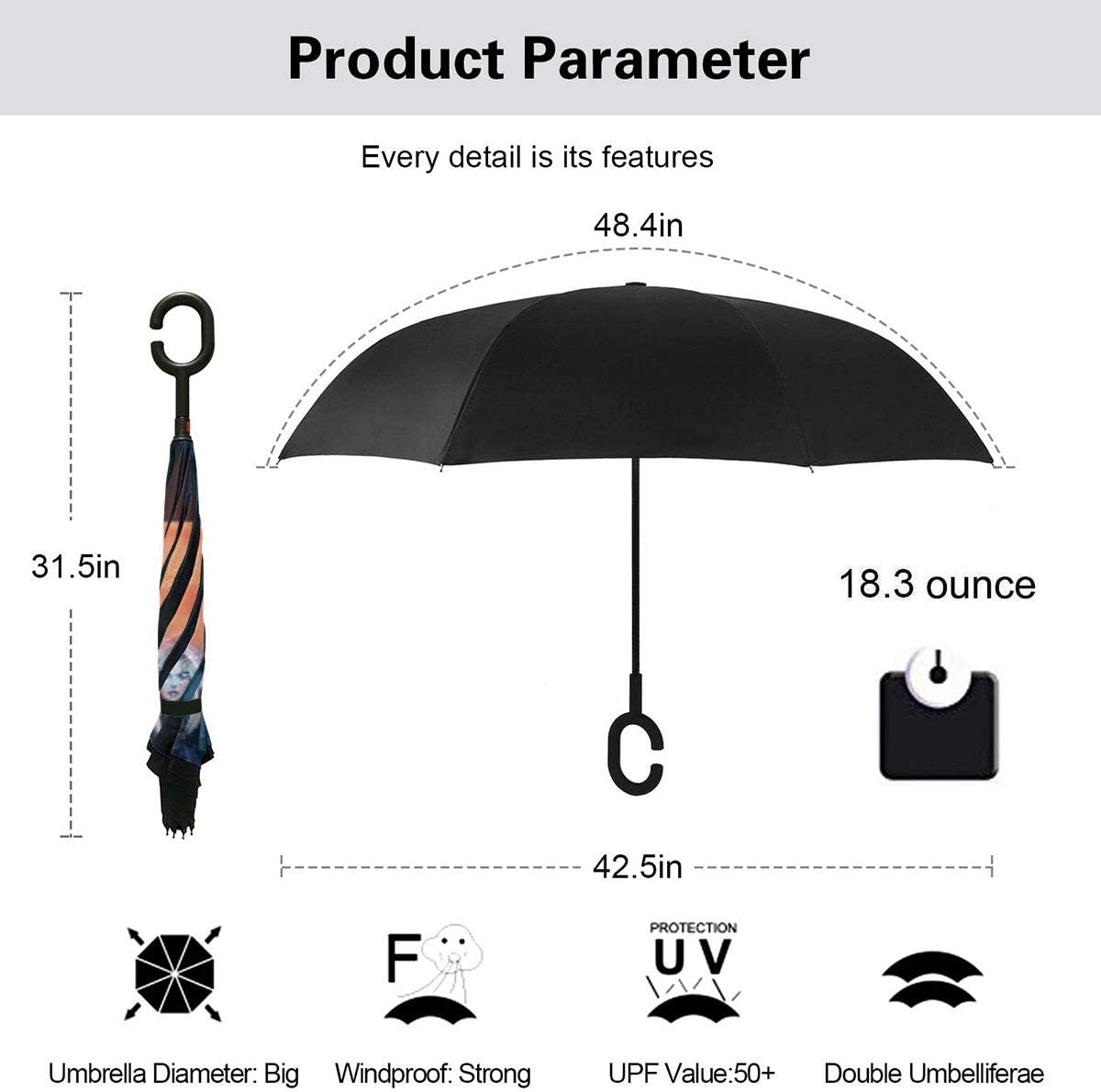 With C-Shaped Handle UV Protection Inverted Folding Umbrellas Windproof And Rainproof Double Folding Inverted Umbrella World Of Warcraft Fantasy Warrior Moon Weapon Elf Darkness Car Reverse Umbrella