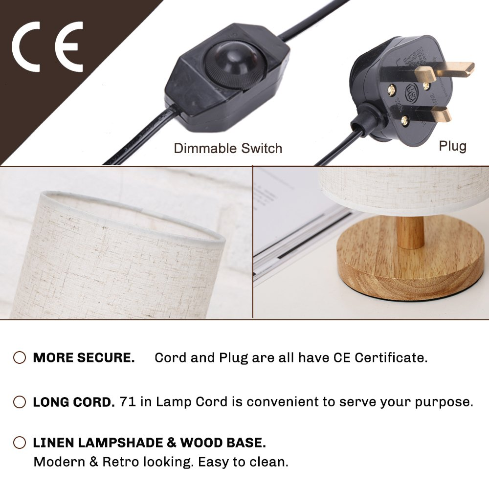 Dimmable Bedside Desk Table Lamp Small Wooden Kitlamp Wiring Kits Uk Bulb E27 Warm White Includedminimalist Night Stand Reading Light For Any Roomliving