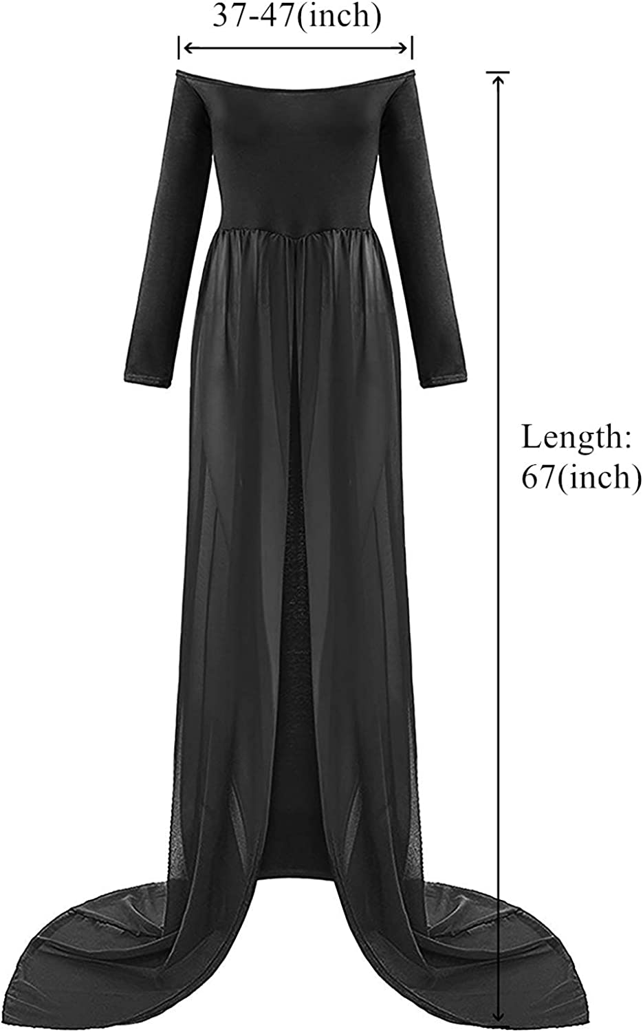 ZIUMUDY Maternity Maxi Chiffon Photography Dress Split Front Gown for Photoshoot (Black) at  Women's Clothing store