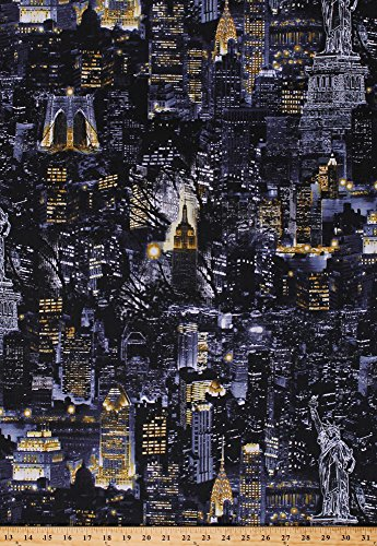 (Cotton New York City Nightscape Skyscrapers City Lights at Night Statue of Liberty Cityscapes Cotton Fabric Print by The Yard (08347-12))
