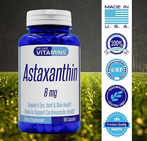 Astaxanthin 8mg - 180 Capsules - Best Value Astaxanthin Supplement Discount