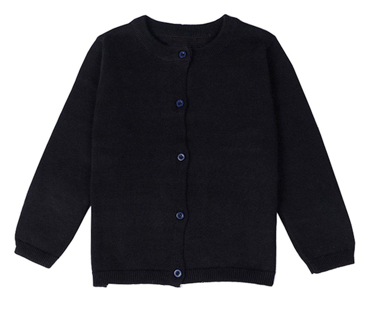 lymanchi Little Girls' Long Sleeve Cardigan Button Crewneck Knit Bowknot Sweater 101 Black 6