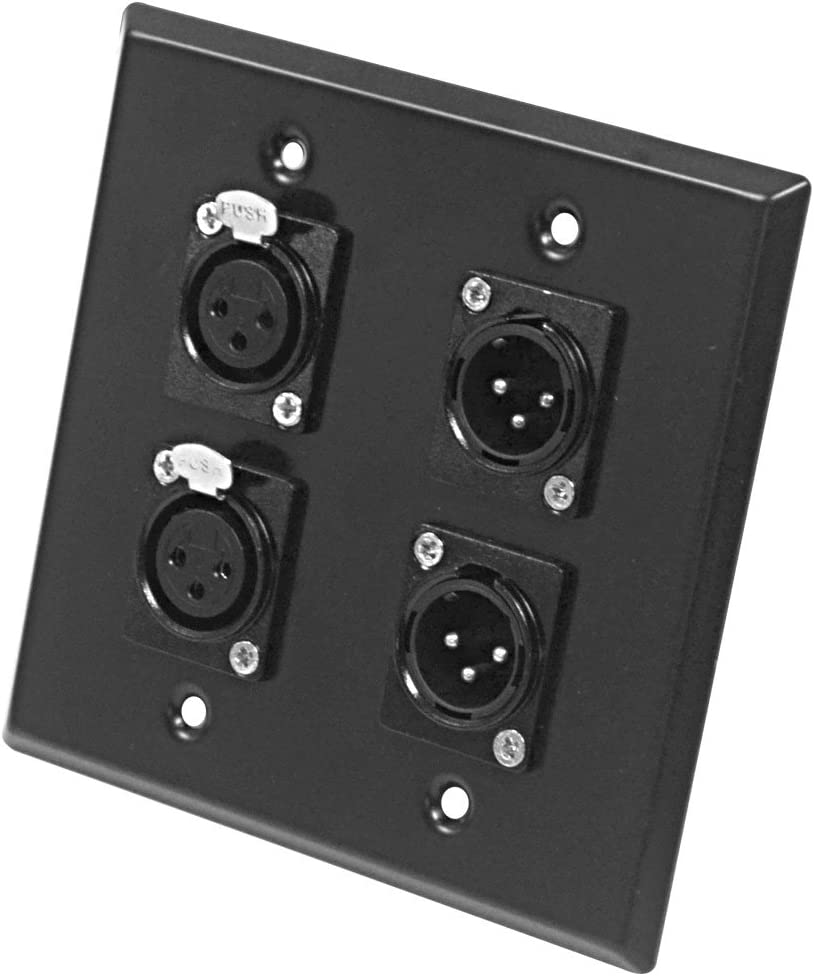 2-Port XLR Stainless Steel Wall Plate