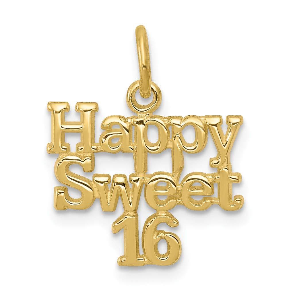 12mm x 15mm Jewel Tie 10k Yellow Gold HAPPY SWEET 16 Pendant Charm