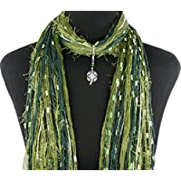 Green St Patrick's Day Shamrock Necklace Scarf ~ Irish Four Leaf Clover ~ Color Choice ~ Quality Fibers ~ Detachable Pendant Option