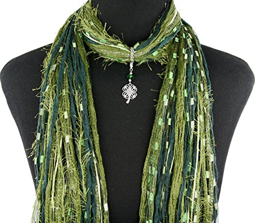 Green St Patrick's Day Shamrock Necklace Scarf ~ Irish Four Leaf Clover ~ Color Choice ~ Quality Fibers ~ Detachable Pendant Option