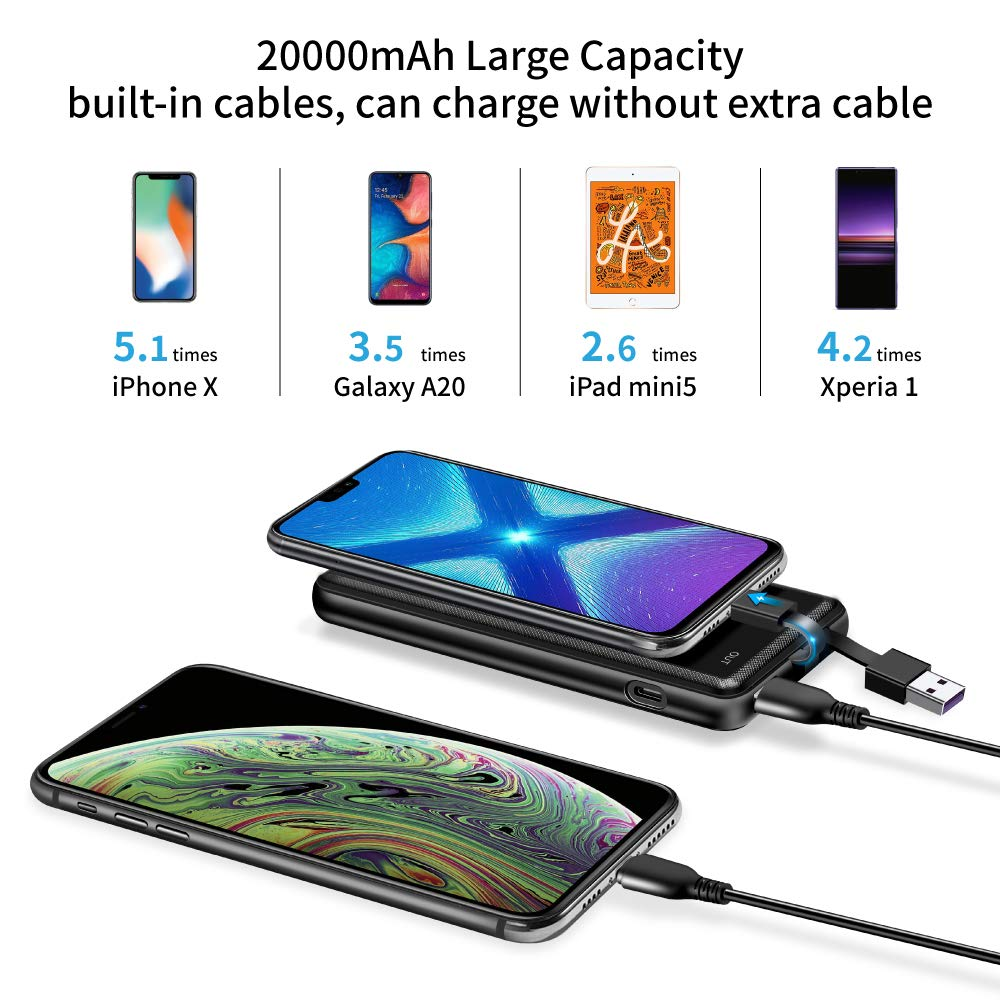 10000mAh Elzle 10000mAh Ultra Slim Power Bank with LCD Display Built-in USB and Type-C Cable 5V//2.1A Fast Charge External Battery Pack for Smartphone Tablets and More Portable Charger