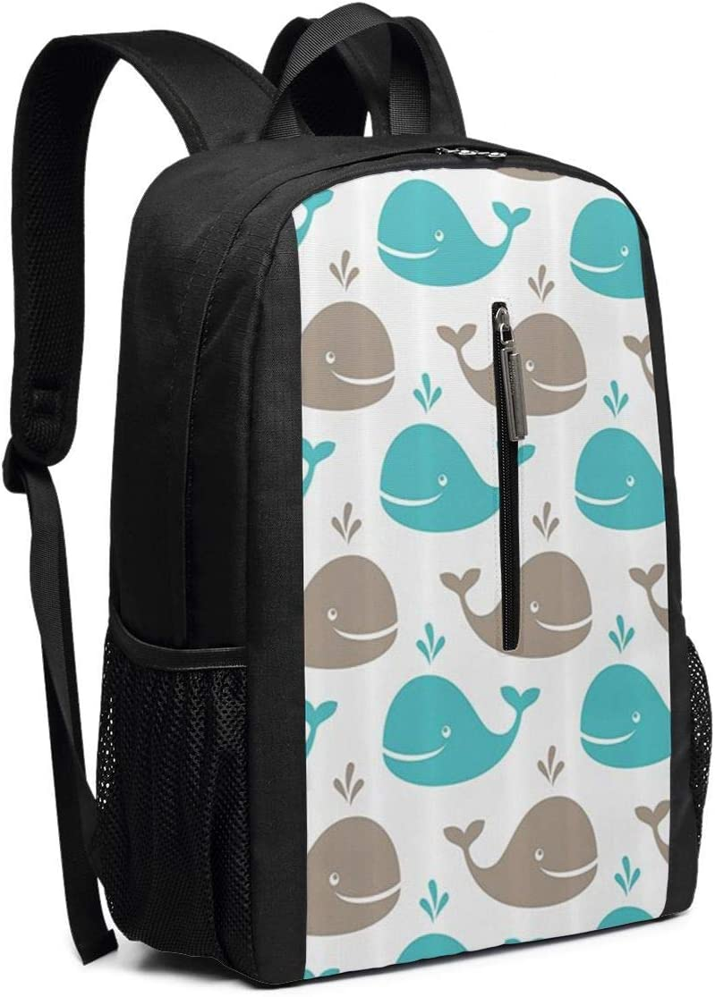 Water Resistant College School Computer Bag Gifts for Men Women Business Durable Laptop Backpack Black 17in X 12in X 6in ~ Smile A Whale Backpack