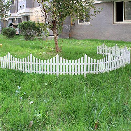 Garden Landscaping & Decking Construction & Building Materials - 33cm Plastic White Plug In Fence Garden Decoration Fence