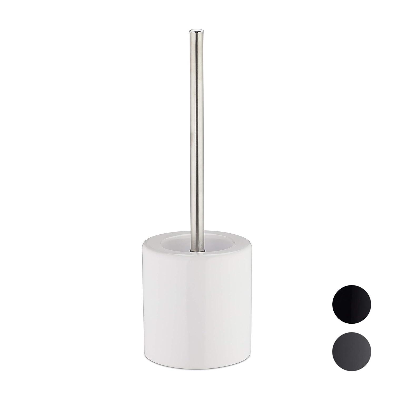Cer/ámica-Hierro Blanco 38,5 x 12,5 cm Relaxdays Escobilla de Ba/ño con Cepillo Intercambiable
