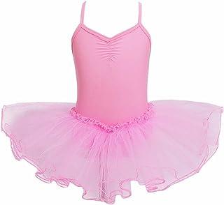 iEFiEL - Body da danza classica, tutù con spalline incrociate, per bambina da 2a12anni, Rose, 3-4 anni tutù con spalline incrociate per bambina da 2a12anni