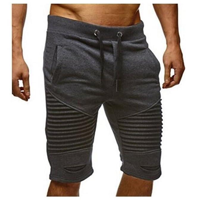 Hombre Pantalones Cortos Deportivos - Bermudas Pantalones cortos con cordón Moda Cintura Elástica Pantalón de Chándal con… SomPQWPzS