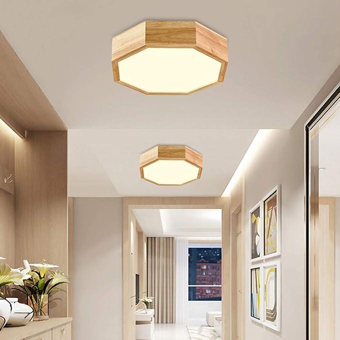 Amazon.com: Lámpara de techo de madera con luz LED de 12 W ...