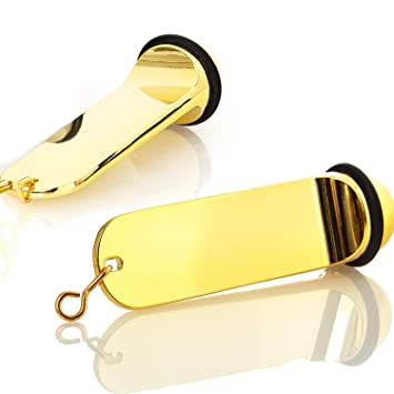 Kerafactum Doble Pack Llavero Hotel Llave Pension Hotel Colgante Oro Imitación con Anillo de Goma Grabado Posible – Key Día