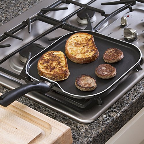 Cooktop stovetop griddle frying pan large square 11 for Cooking fish in dishwasher