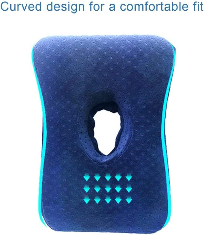 Nsdsb Almohada para Dormir Rebote Lento Memoria Algod/ón Agujero Almohada para Dormir Almohada para la Mano Azul