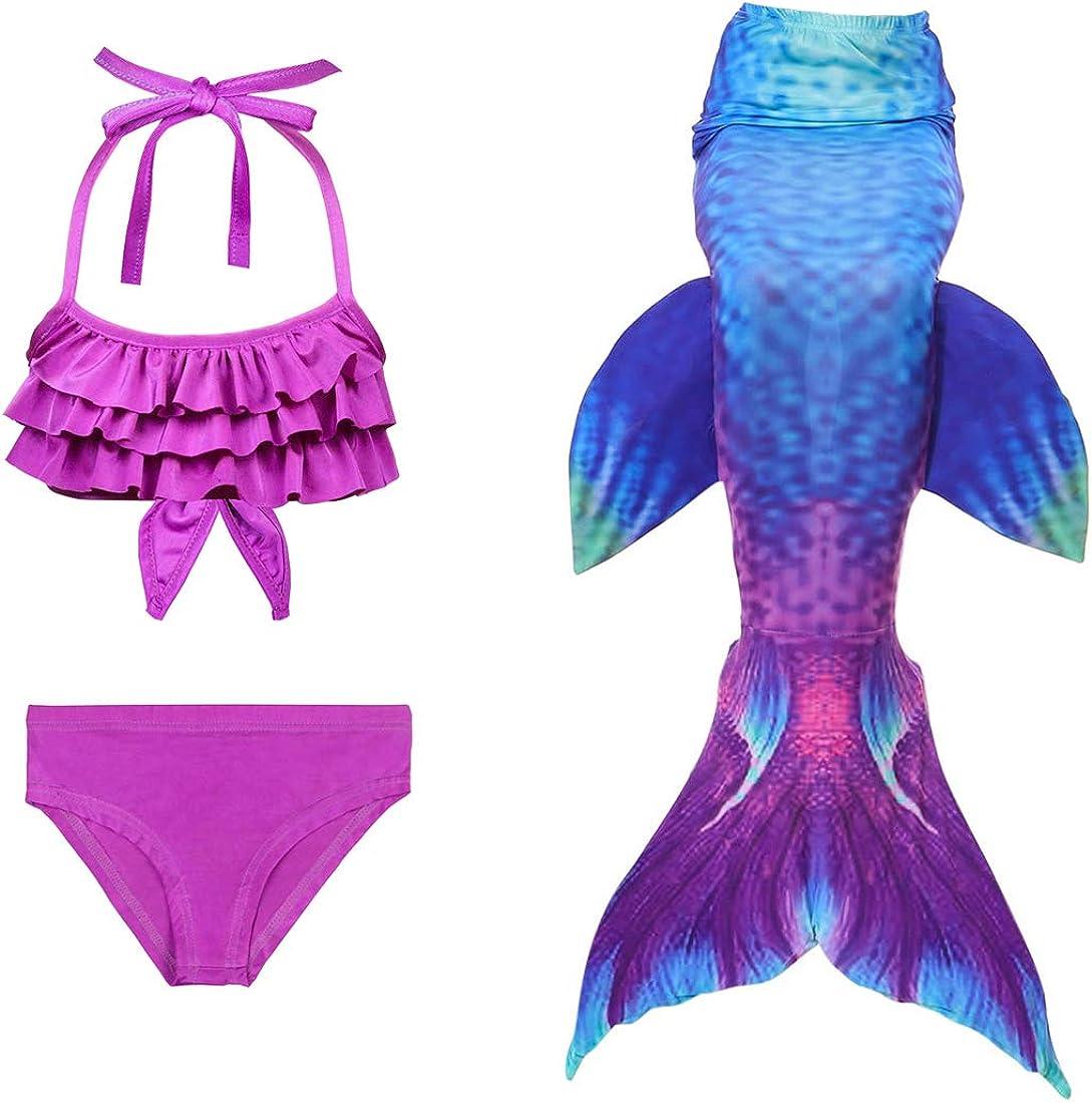 SANNYHHOOT Girls Mermaid Tail Swimsuit For Swimming Bikini Set Sea-Maid Bathingsuit
