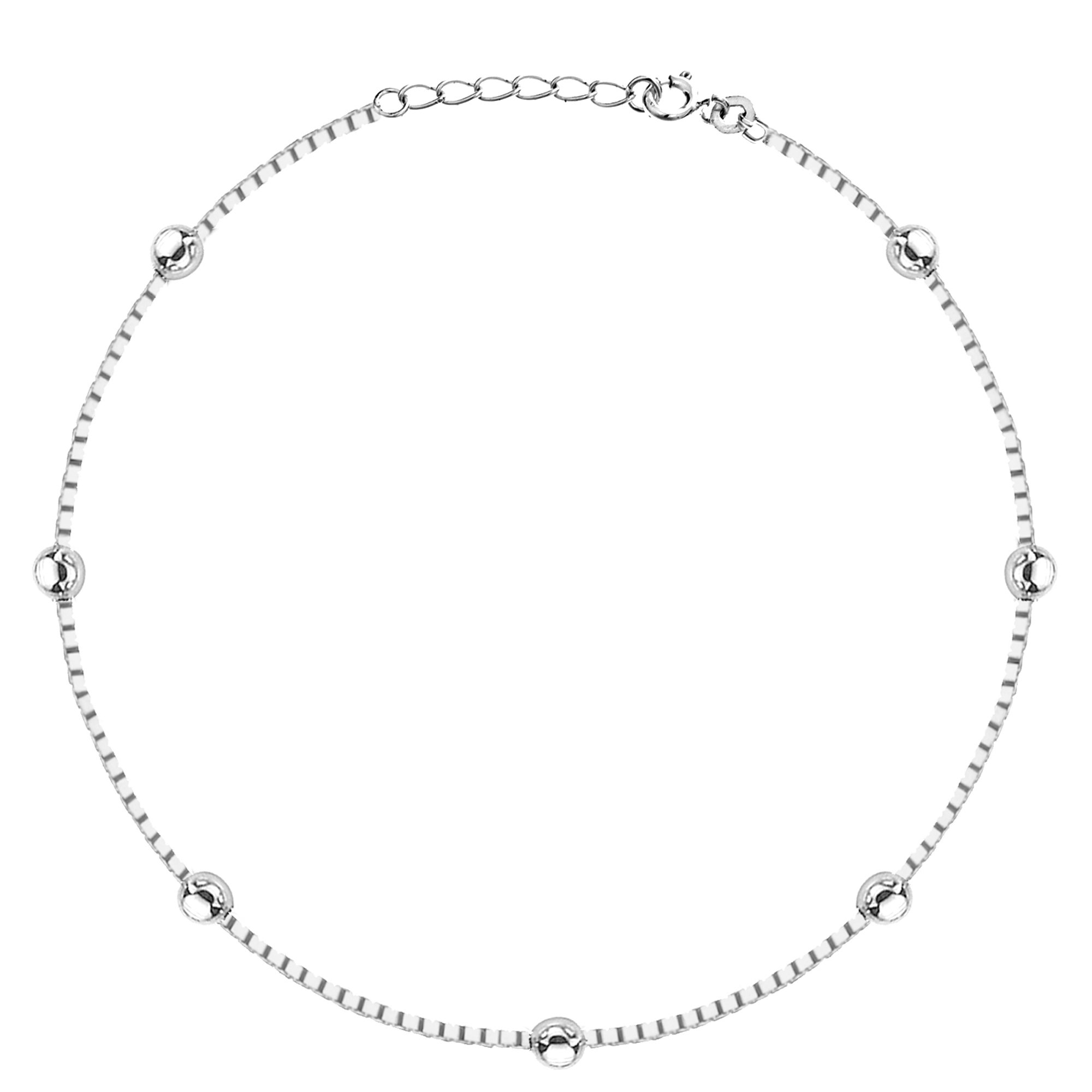 Sterling Silver Italian Ball Beaded Station Box Anklet 9-10 inch