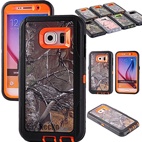 Kecko Heavy Duty Defender 3-layer Tough Rubber Shockproof Weather Water Resistant Tree Camo Rugged Silicone Impact Built-in Screen Protector Hybrid Case w/ Camouflage Wood for Galaxy S6 - Xtra Orange
