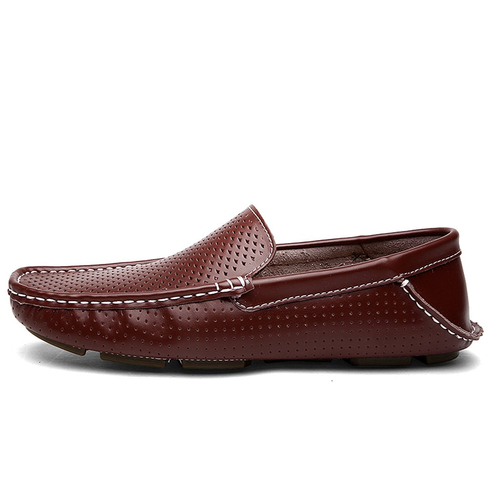 Shenn Men's Summer Breathable Driving Comfort Slip On Casual Leather Loafer  Flats Shoes 1717: Amazon.co.uk: Shoes & Bags