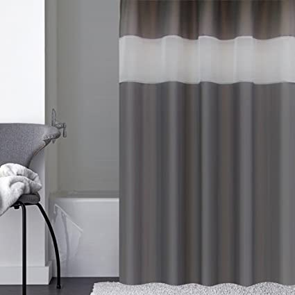 Uphome Bathroom Shower Curtain Luxury Charcoal Grey Heavy Duty Sheer Patchwork Fabric Bath Stall