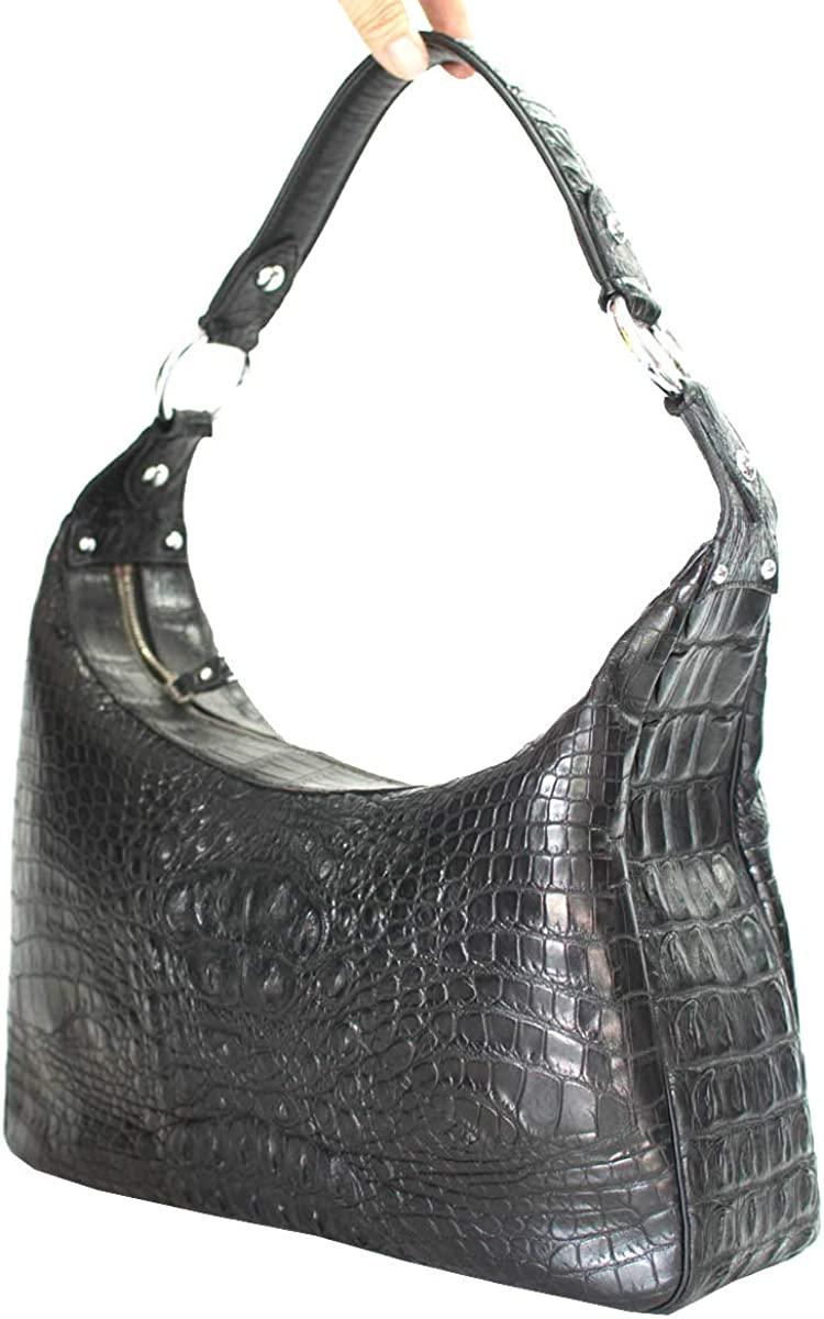 Authentic River Crocodile Skin Womens Shoulder Bag Tote Shiny Black Handbag