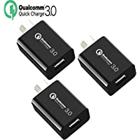 Quick Charge 3.0 Wall Charger, IGUGIG 18W Qualcomm USB Wall Charger Adapter with Smart IC, SAA Certification for iPhoneXs/Xs Max/X /8 Plus/8/7Plus/7,iPad,iPod,Samsung,HTC,Xiaomi,Huawei,LG (3 Pack-Black)