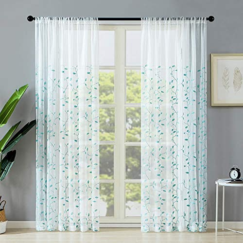 MRTREES Sheer Curtains Leaves Embroidered Window Curtain Sheers 84 inch Length Living Room Window Curtain Panels Leaf Embroidery Rod Pocket 2 Panels Aqua Blue Leaves