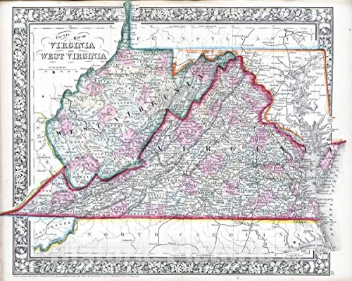 West Virginia County Maps - Historic Map | 1865 County map of Virginia and West Virginia | Vintage Wall Art | 55in x 44in