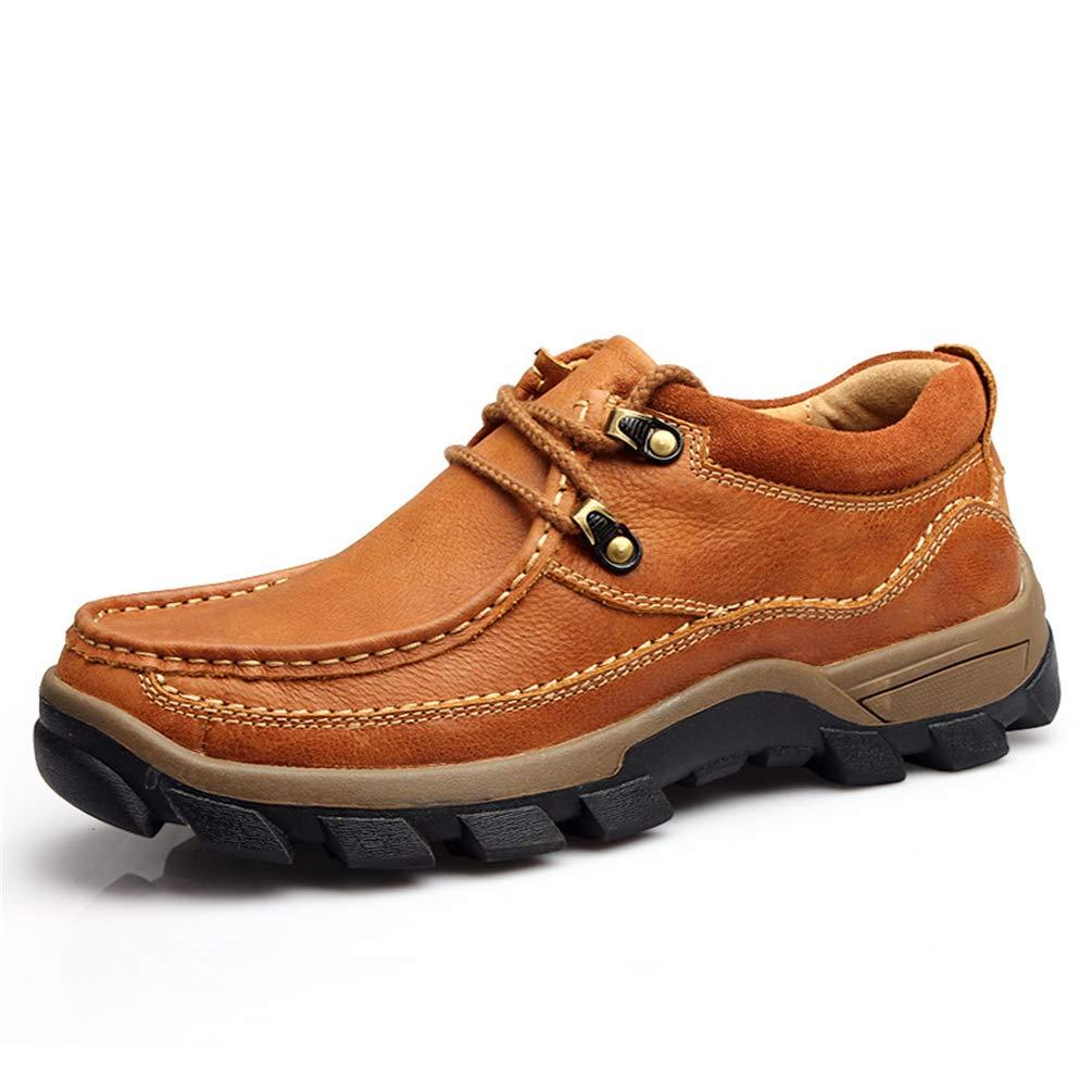 Zapatos de Cuero para Hombres Senderismo al Aire Libre Zapatos Casuales Suela Gruesa Zapatos de Cuero de Gamuza Resistentes al Desgaste Zapatos de Trekking para Hombres