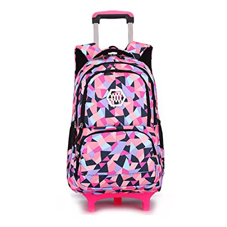 5a63c7ec0b Lovely Trolley School Backpack Bags With Wheels For Kids Girls Primary  School (Black)  Amazon.co.uk  Luggage